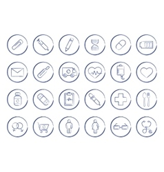 Medicine pen drawing linear icons vector