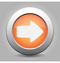 metal button with the orange arrow vector image