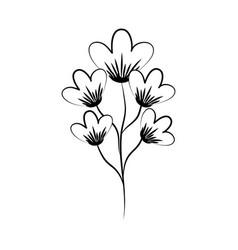 minimalist tattoo flower decoration line art herb vector image