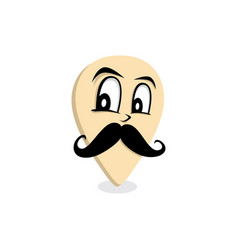 Mustache gentleman map pin locator - location vector
