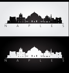 naples skyline and landmarks silhouette vector image