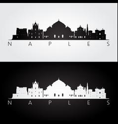 Naples skyline and landmarks silhouette vector