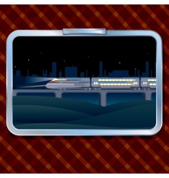 Night Train and Landscape vector image