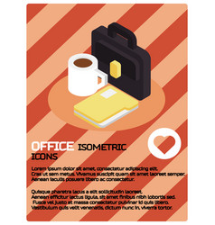 office color isometric poster vector image
