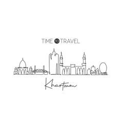 one single line drawing khartoum city skyline vector image