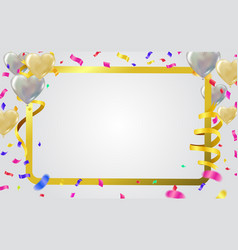 party balloons frame template with vector image