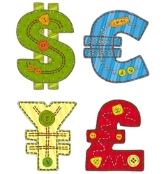 Patchwork Currency Symbols vector