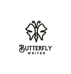 pen butterfly wings for writer journalist logo vector image