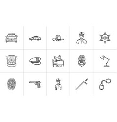 police hand drawn outline doodle icon set vector image