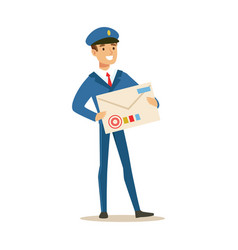 postman in blue uniform delivering mail holding vector image