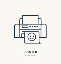 Printer with printed paper flat line icon office vector