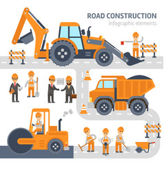 Road construction infographic elements flat vector