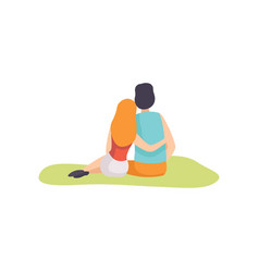romantic couple sitting on grass on nature back vector image