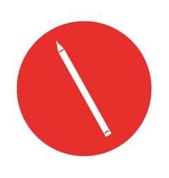 round icon red pencil cartoon vector image