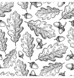 Seamless pattern with autumn leaves Oak vector