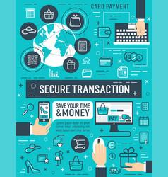 Secure online money transaction poster vector