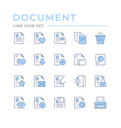 set color line icons of document vector image
