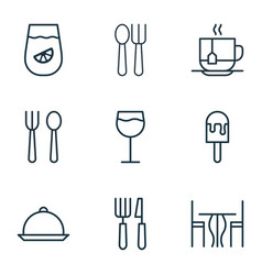 set of 9 meal icons includes hot drink lemonade vector image