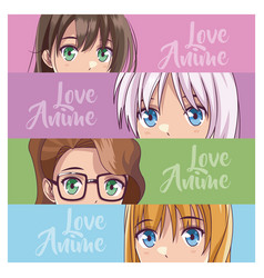 Set of anime young womens vector