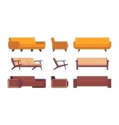 Set of retro sofas vector