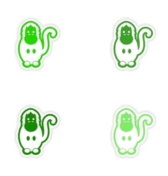 Set paper stickers on white background gorilla vector