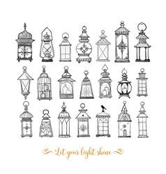 set vintage lanterns on white background vector image
