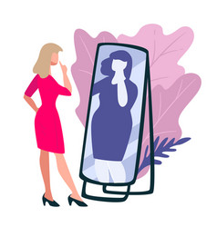 Slim woman looking at mirror seeing fat lady vector