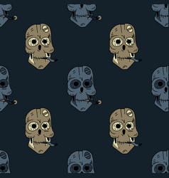 Smoking robot skull seamless pattern vector