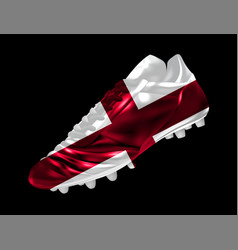 Soccer football cricket boot with the flag of vector
