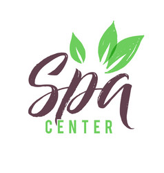 spa studio logo stroke green leaf vector image