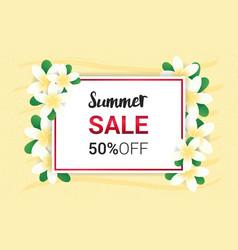 Summer plumeria flowers frame or summer floral vector