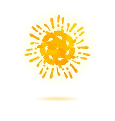 Sun made of handprint concept for your design vector