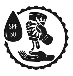 Sunscreen in hands icon simple style vector