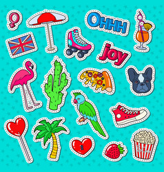 teenager fashion lifestyle stickers badges vector image
