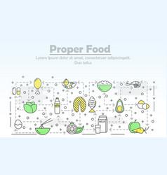 thin line art proper food poster banner vector image