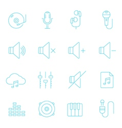 Thin lines icon set - audio vector image