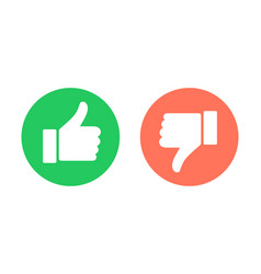 Thumbs up and thumbs down circle emblems vector