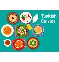 Turkish cuisine traditional dishes icon vector