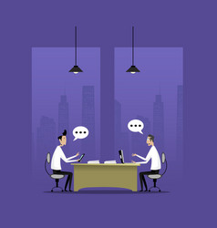 two businessman discuss vector image