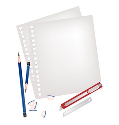 Two Pencils and Knife with Blank Page vector image