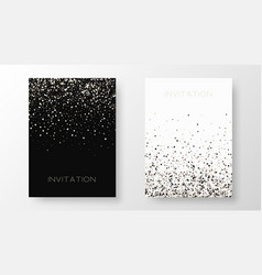 two template design invitation with gold sequin vector image