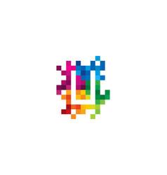u letter mosaic pixel logo icon design vector image