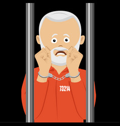 unhappy elderly prison in handcuffs in prison vector image