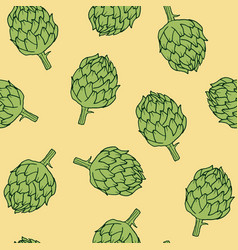 Vegetable pattern with artichoke vector