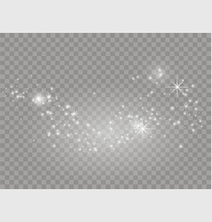 white sparks and stars shine with light dust vector image