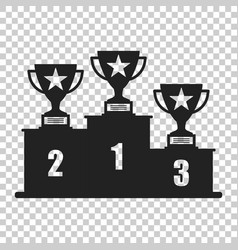 Winners podium with trophy icon in flat style vector