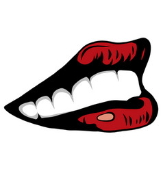 woman s open mouth with sexy red lips and tongue vector image