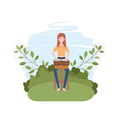 Woman with congas and branches and leaves in the vector