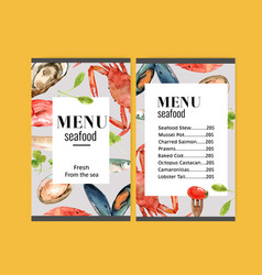 World food day menu design with crab meat fish vector