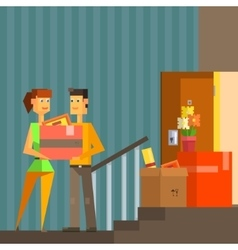 Young couple moving into new apartement pixelated vector